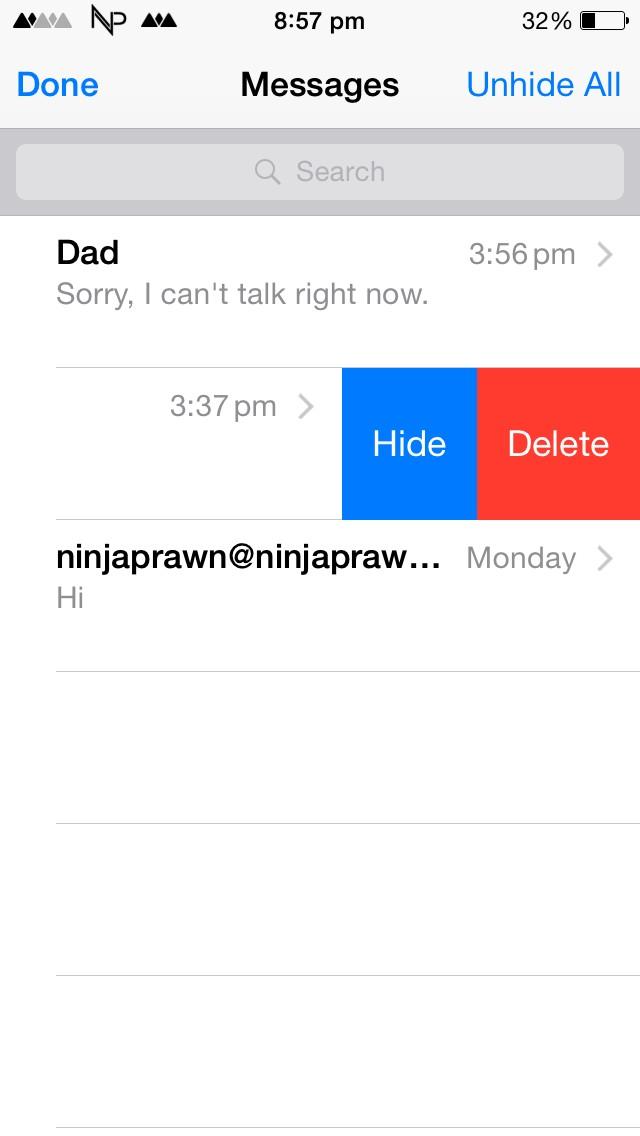 Help] tweak to hide conversations in message app  : jailbreak