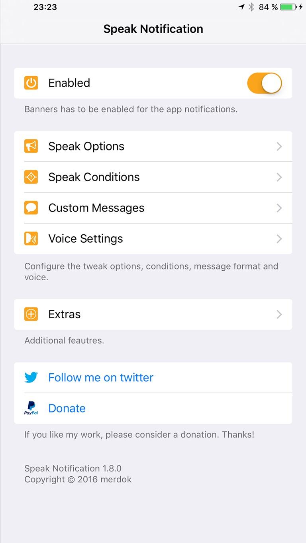 speak notification - thebigboss org