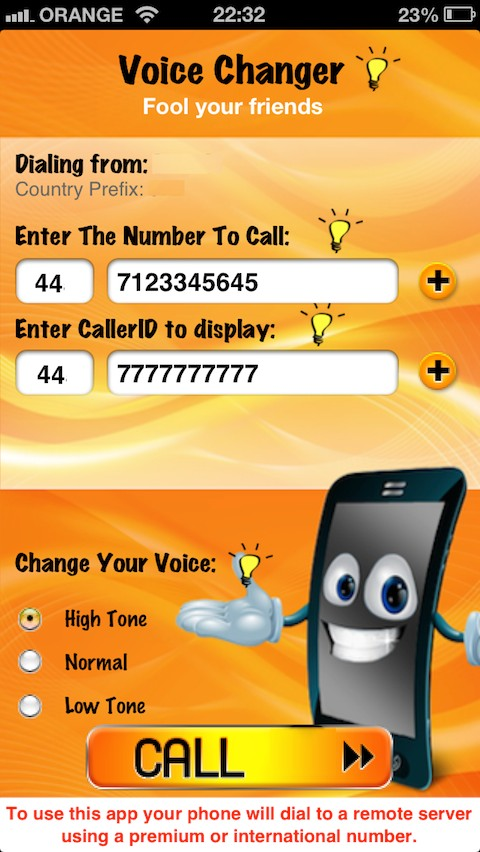 Spoof CallerID and Voice changer · Cydia