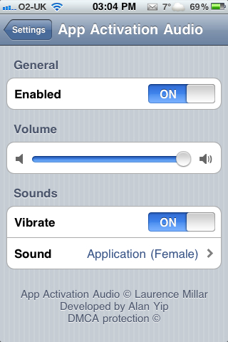 أداة App Activation Audio
