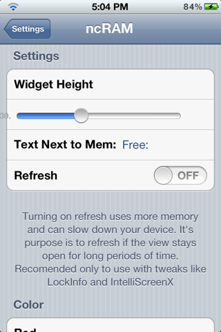 أداة ncRam for NotificationCenter لـ iOS 5